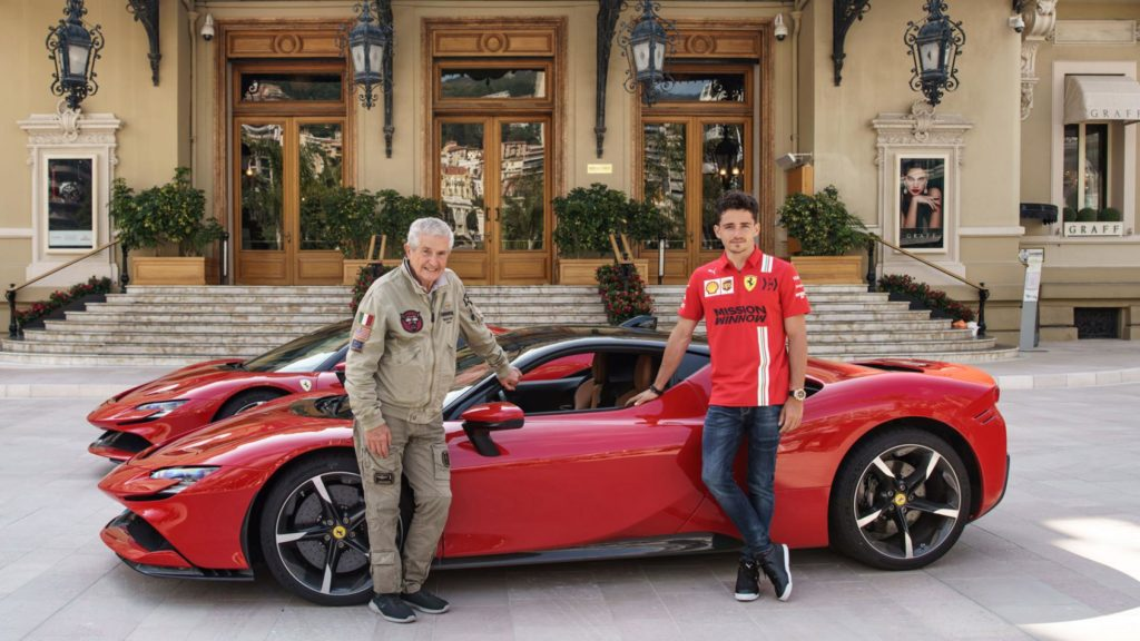 Charles Leclerc races in his Ferrari around Monaco's streets