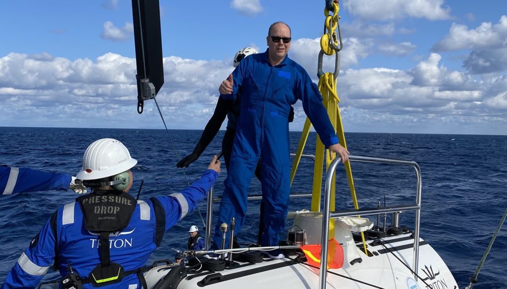 Prince Albert of Monaco on an expedition to the deepest point of the Mediterranean