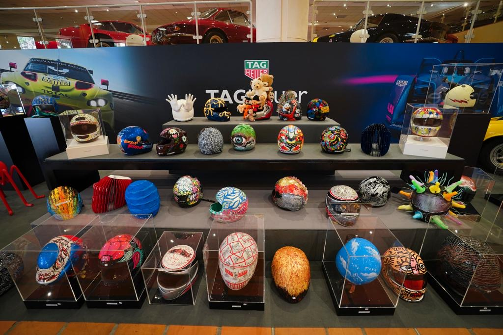 F1 helmets on offer at the auction for children at L'archet Hospital in Nice