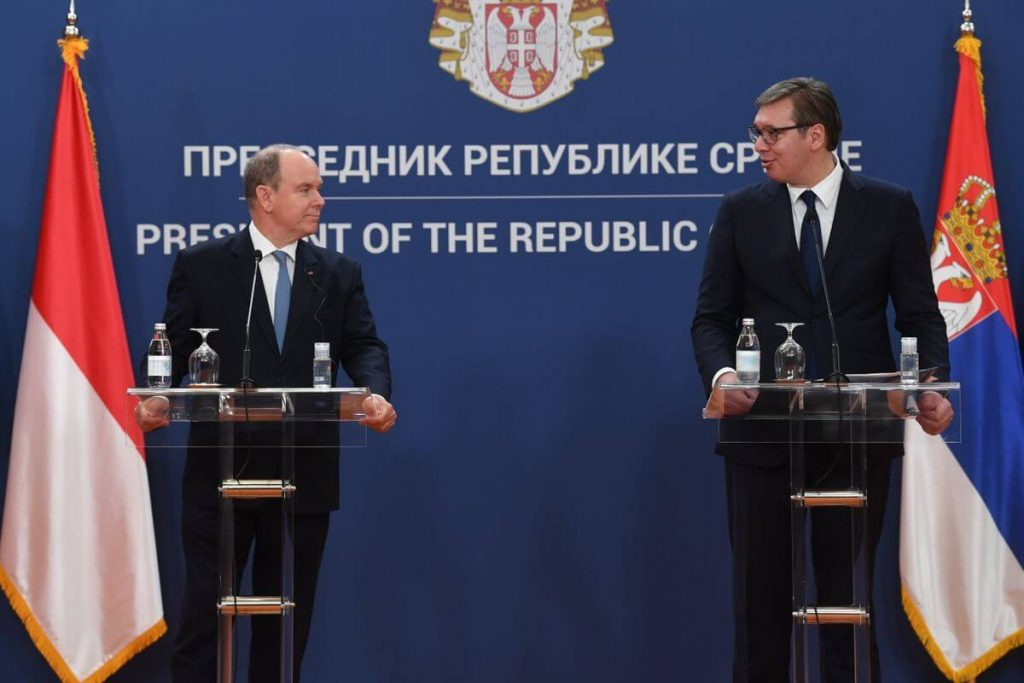 Press conference between Serbian President and  Prince Albert II of Monaco